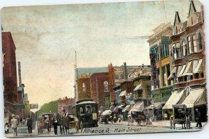 postcard Alliance, Ohio - Main STreet - trolley, horse buggy, Koch, E.J. Morris