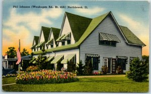 Northbrook, Illinois Postcard PHIL JOHNSON RESTAURANT Waukegan Road Linen 1940s