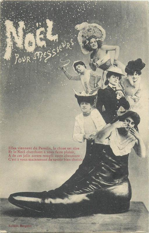surrealism photo montage postcard six women in a giant boot new year greetings