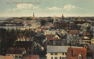 Provincetown MA Aerial View & Pilgrim House From Centre Church Postcard