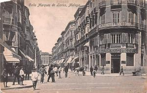 Spain Old Vintage Antique Post Card Calle Marques de Larios Malaga Unused