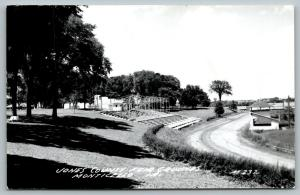 Monticello Iowa~Jones County Fair Grounds~Race Track~Bleachers~Stands~1950s RPPC