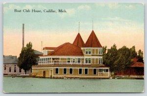 Cadillac Michigan~Boat Club House~View From Lake~1910 Postcard