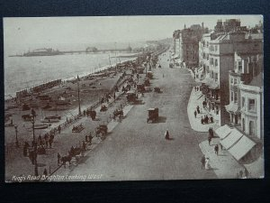 Sussex BRIGHTON The King's Road Looking West - Old Postcard by B.& R. Ltd