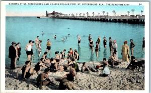 1920s St. Petersburg FL Postcard Bathing Beach Scene w/ Million Dollar Pier View
