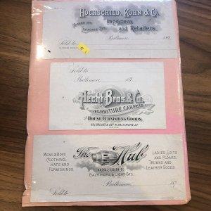 LOT OF 3 - Baltimore MD - HECHT  - HUB - HOCHSCHILD  - STORE 1800s Receipt Rare