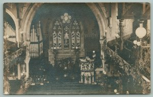 Baxter Church Interior w/Pipe Organ During Harvest Festival RPPC c1910 Postcard