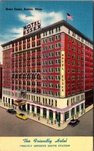 Hotel Essex Boston MA South Station Summer Street Cars Restaurant Vtg Postcard