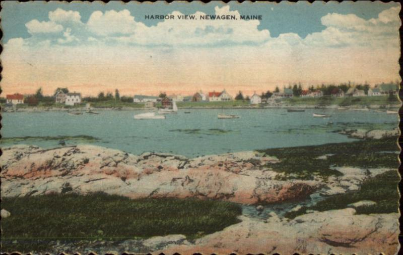 Newagen ME Harbor View c1920s Postcard #1