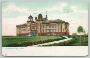 Superior Wisconsin~Twin Open Belltowers~Two Walk Path to Normal School~c1906 PC