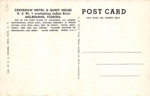Crenshaw Hotel and Guest House Overlooking Indian River Melbourne FL