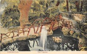 Gibraltar c1908 Postcard The Cascade Man Standing by Bridge