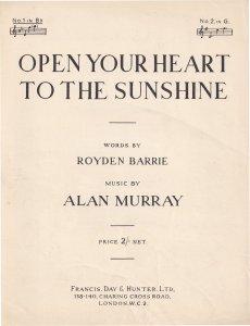 Open Your Heart To The Sunshine Alan Murray Olde Sheet Music