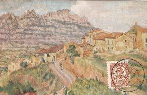 M. BALASCH. Village with Montserrat Mountain in background Nice Spanish PC1940