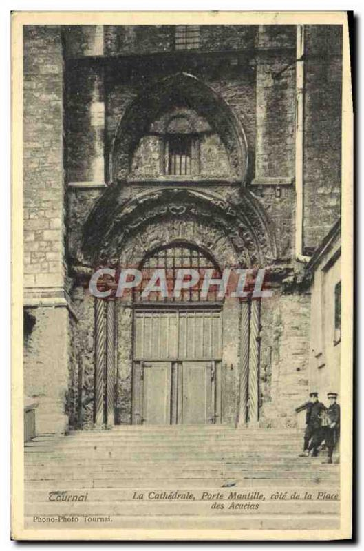 Old Postcard Tournai The Cathedral Gate Mantilla Riviera Place des Acacias