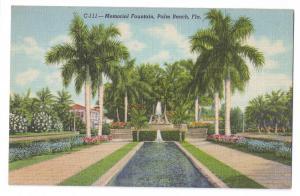 Memorial Fountain Palm Beach Florida FL Vintage Linen
