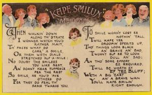 Keep Smiling Boy With Clowns Face Like Pierrot Antique Old Postcard