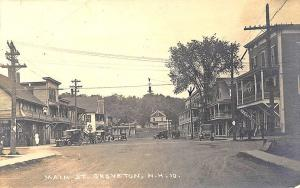 Groveton NH Main Street View Storefronts Restaurant Old Cars RPPC Postcard