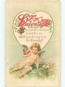 Pre-Linen Valentine CUPID WITH BUTTERFLY ON ARM AB2818