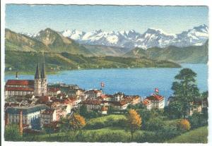 Switzerland, Luzern und die Alpen, Lucerne and the Alps, mini card
