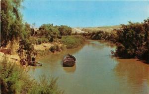 Jordan River Israel~Ferry Boat Line Across~Worker~Flat Boat~1970s Postcard