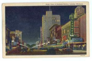 Night View Business Section of Lansing, Michigan, MI,1951 Linen