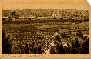 Israel - Jerusalem. Viewed from the Mount of Olives (torn corner)