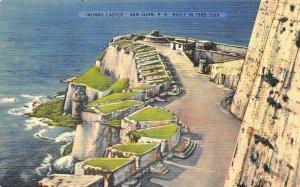 San Juan Puerto Rico Moro Castle Built in 1585-1599 Linen Postcard