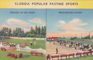 Florida Popular Pastime Sports Bowling On The Green & Shuffleboard Courts Cur...