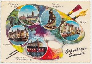 Copenhagen Souvenir, multi view, 1966 used Postcard