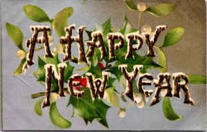 A Happy New Year - SILVER HOLLY - Vintage - POSTCARD PC