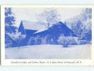 Unused 1940's LODGE SCENE Hancock New York NY J7403