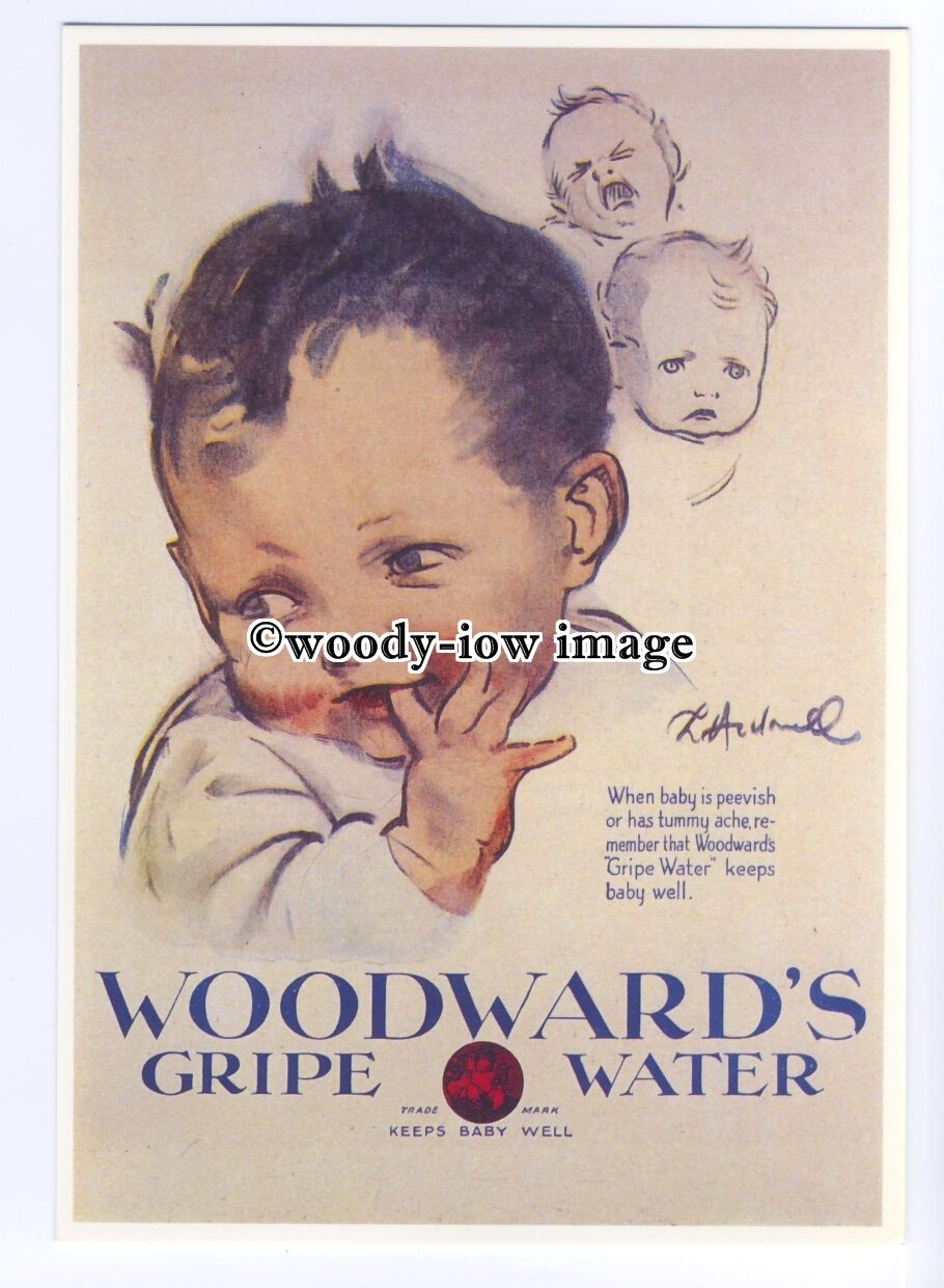 Ad0813 Woodwards Gripe Water Happy Baby Modern Advert Postcard Listing