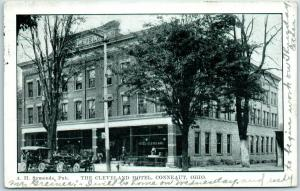Conneaut, Ohio Postcard THE CLEVELAND HOTEL Street View w/ 1907 Cancel
