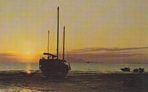 Ship on beach at sunset , Lau Fau Shan , N.T. , Hong Kong , China, 40-60s
