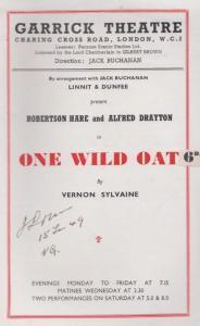 One Wild Oat  Alfred Drayton Robertson Hare Drama London Garrick Old Theatre ...