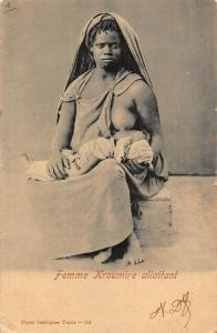 Tunisia Femme Kroumire allaitant breastfeeding ethnic postcard