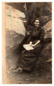 Emma Coltus Amidst A Rocky Scene Real Photo Post Card RPPC c1904-1920s