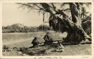 fiji islands, CUVA, Coral Lagoon with Native Houses (1930s) RPPC