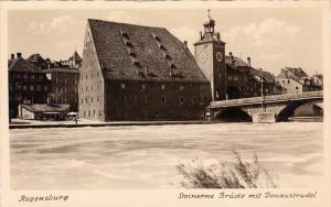 RP, Steinerne Brucke Mit Donaustrudel, REGENSBURG (Bavaria), Germany, 1920-1940s