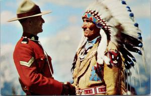 'Mountie and Indian Chief' Sitting Eagle RCMP Mounted Police UNUSED Postcard D89