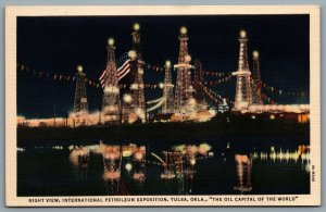 Postcard Tulsa OK c1934 International Petroleum Exposition Night View Flag Linen