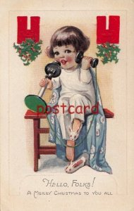 1926 Hello, Folks! Merry Christmas, girl on phone with bunny slippers, embossed