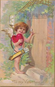 To My VALENTINE, Cupid holding big red heart knocking front door, Poem, 00-10s