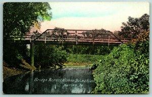 Harlan Iowa~Pony Truss Bridge Over Nishna-Botna River on 7th St~Postcard 1911