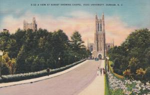 DURHAM, North Carolina; a View at Sunset showing Chapel, Duke University, 30-40s