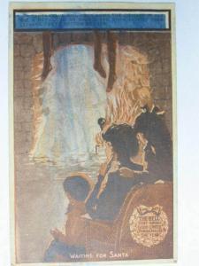 Christmas Hold Wet Cloth & Santa Claus Appears Novelty c1910 Postcard spc