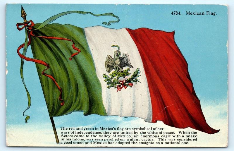 Postcard Mexican Flag Mexico Red White Green Eagle Snake A06