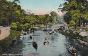 Michigan Detroit Canoeing On Canal Belle Isle Park 1909