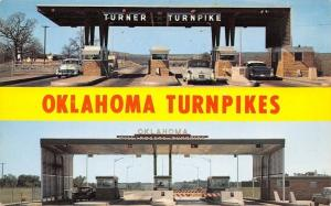 Oklahoma Banner Greetings~Will Rogers & Turner Turnpikes~Toll Gates~1950s Cars